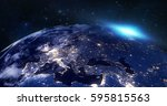 blue planet earth from space... | Shutterstock . vector #595815563