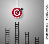 business concept   ladder for... | Shutterstock .eps vector #595828928
