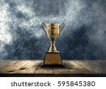 champion golden trophy placed... | Shutterstock . vector #595845380