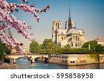 notre dame de paris at spring ... | Shutterstock . vector #595858958