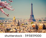 view on eiffel tower in paris...   Shutterstock . vector #595859000