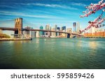 brooklyn bridge and manhattan... | Shutterstock . vector #595859426