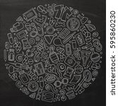 chalkboard vector hand drawn... | Shutterstock .eps vector #595860230