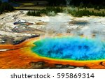 grand prismatic pool at... | Shutterstock . vector #595869314