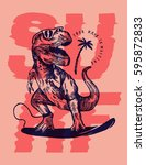 Dinosaur Surfer Pink Print