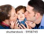family portrait kissing their... | Shutterstock . vector #5958745