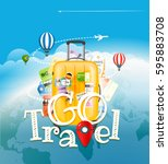 go travel concept. travel bag... | Shutterstock .eps vector #595883708