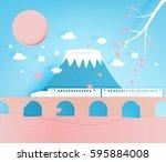 japan great mountain background ... | Shutterstock .eps vector #595884008
