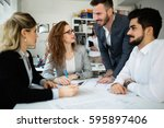 business meeting and... | Shutterstock . vector #595897406