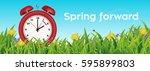 uk edition  daylight saving... | Shutterstock .eps vector #595899803
