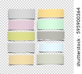 set of notes paper in pastel... | Shutterstock .eps vector #595900364