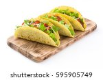 traditional mexican tacos with... | Shutterstock . vector #595905749