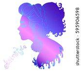 vector hand drawn portrait in...   Shutterstock .eps vector #595906598