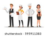 restaurant staff characters... | Shutterstock .eps vector #595911383