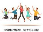 happy teens character design.... | Shutterstock .eps vector #595911680