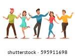happy teens character design.... | Shutterstock .eps vector #595911698