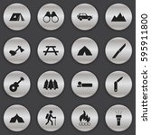 set of 16 editable trip icons.... | Shutterstock .eps vector #595911800