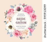 vintage wedding invitation | Shutterstock .eps vector #595913099