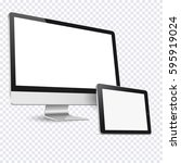 computer display and tablet... | Shutterstock .eps vector #595919024