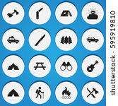 set of 16 editable camping... | Shutterstock .eps vector #595919810