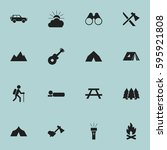 set of 16 editable camping...   Shutterstock .eps vector #595921808