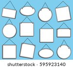 doodle style hanging signs or... | Shutterstock .eps vector #595923140