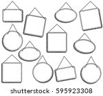 doodle style hanging signs or... | Shutterstock .eps vector #595923308