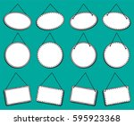 doodle style hanging signs or... | Shutterstock .eps vector #595923368