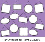 doodle style hanging signs or... | Shutterstock .eps vector #595923398