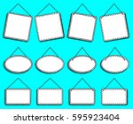 doodle style hanging signs or... | Shutterstock .eps vector #595923404