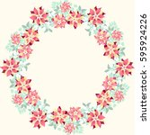 floral round frames from cute... | Shutterstock .eps vector #595924226