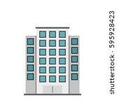 skyscraper icon. flat... | Shutterstock .eps vector #595928423