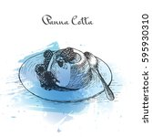 panna cotta watercolor effect...   Shutterstock .eps vector #595930310