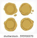 gold seal wax vector | Shutterstock .eps vector #595930370