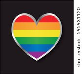 lgbt flag icon heart | Shutterstock .eps vector #595931120