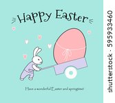 easter greeting card with a... | Shutterstock .eps vector #595933460