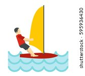 windsurfing icon in flat style... | Shutterstock .eps vector #595936430
