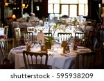 dining table set for a wedding...   Shutterstock . vector #595938209