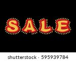 sale light sign with lamps.... | Shutterstock .eps vector #595939784