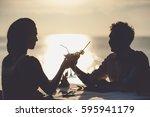 Romantic Couple Enjoy Sunset In ...