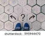 top view of blue shoes on tiled ... | Shutterstock . vector #595944470
