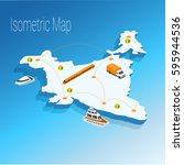 map india isometric concept. 3d ... | Shutterstock .eps vector #595944536
