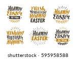 happy easter  label set. hand... | Shutterstock .eps vector #595958588