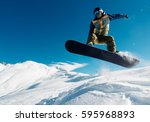 snowboarder is jumping with... | Shutterstock . vector #595968893
