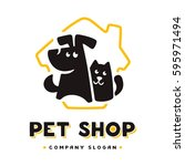 Stock vector vector logo design template for pet shops veterinary clinics and animal shelters homeless vector 595971494