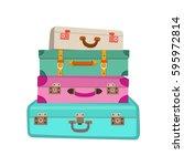 Cartoon Colorful Luggage Vecto...