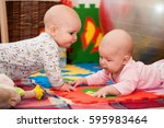 young children  girl and boy ... | Shutterstock . vector #595983464