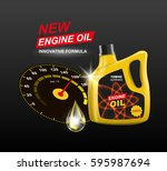 vector canister engine oil with ... | Shutterstock .eps vector #595987694