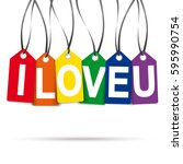 six colored hang tags with text ... | Shutterstock .eps vector #595990754