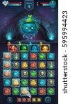 monster battle gui slug nature... | Shutterstock .eps vector #595994423